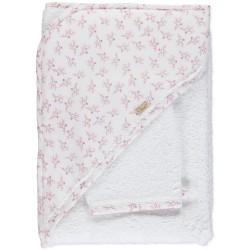 Toalha com estampado floral tons rosa