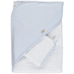 Toalha com contraste em vichy azul bébé e branco