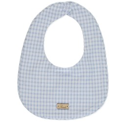 Babete com contraste em vichy azul bébé e branco