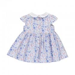 Vestido clássico em estampado azul floral.